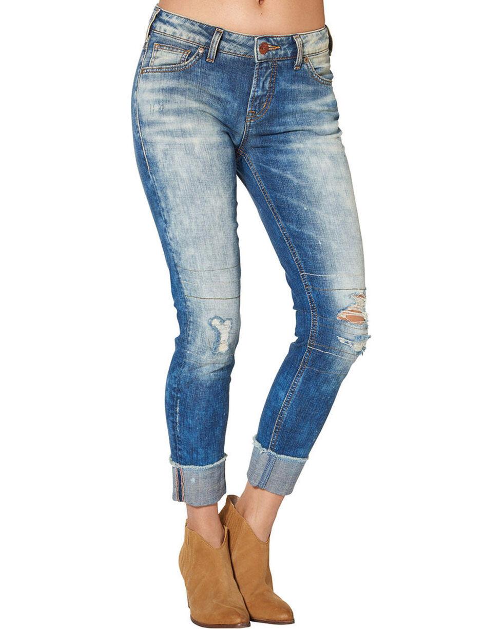 Silver Women's Girlfriend Cropped Skinny Jeans, Blue, hi-res
