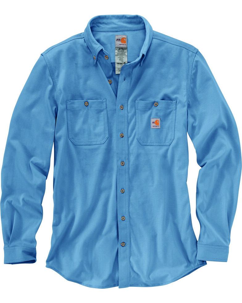 Carhartt Men's Blue Flame-Resistant Force Hybrid Long Sleeve Work Shirt - Big & Tall , Medium Blue, hi-res
