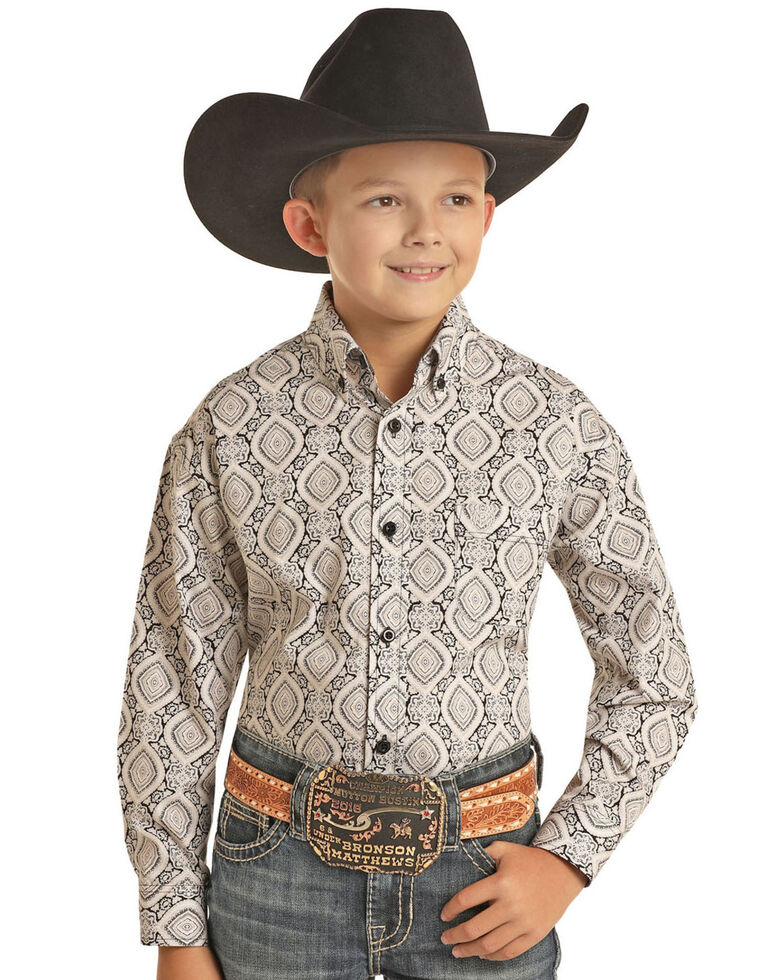 Panhandle Select Boys' Stone Medallion Poplin Print Long Sleeve Western Shirt , Stone, hi-res