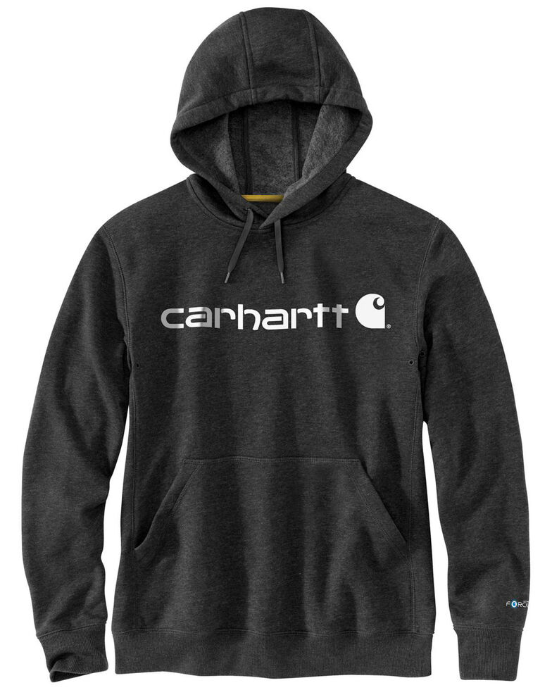 Carhartt Men's Black Force Delmont Signature Graphic Hooded Work Sweatshirt , Black, hi-res