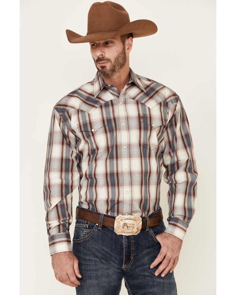 Stetson Men's Ranch Dobby Plaid Long Sleeve Snap Western Shirt , Red, hi-res