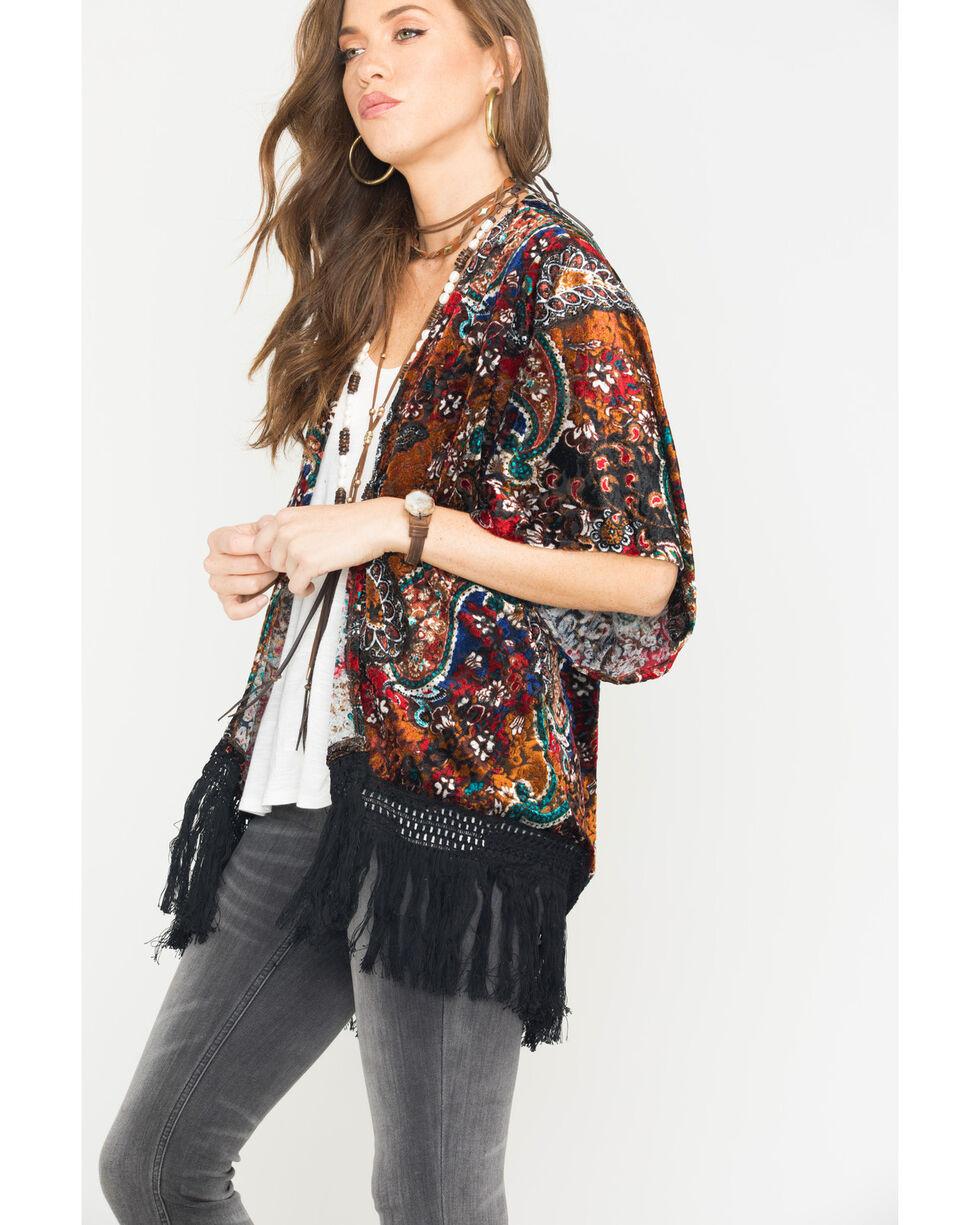 Wrangler Women's Paisley Print Velvet Kimono , Multi, hi-res