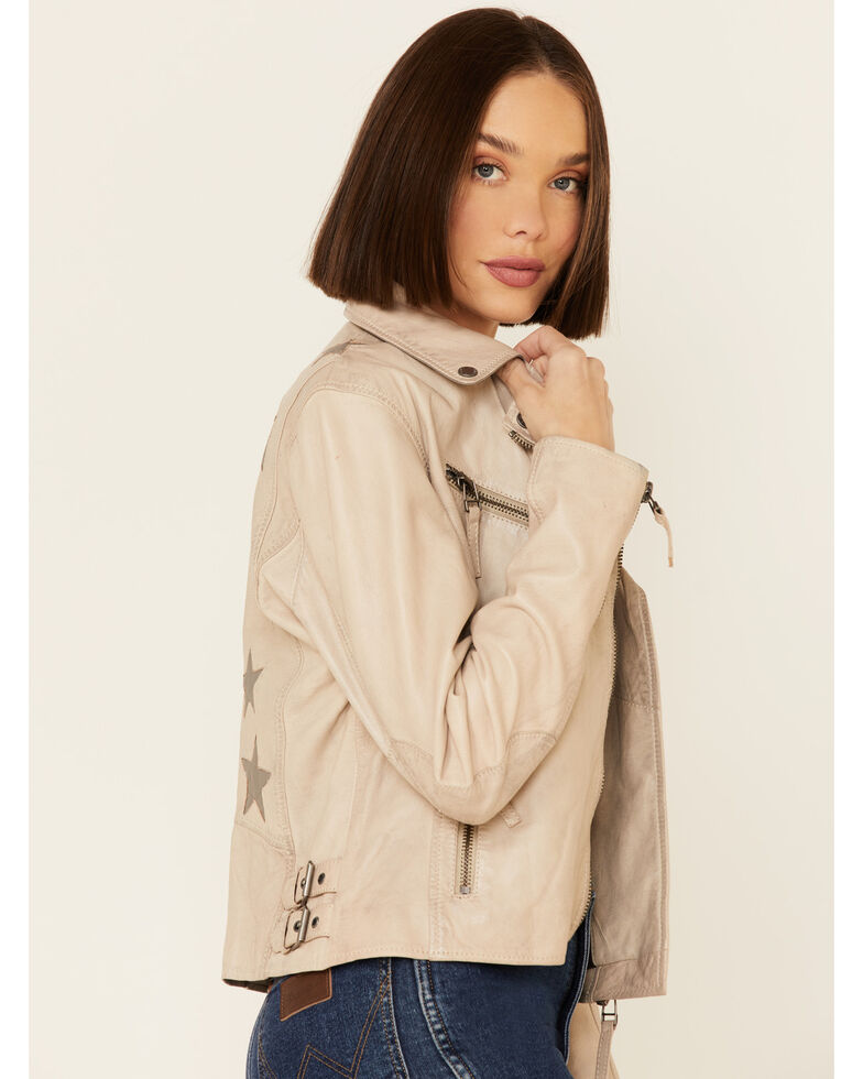 Mauritius Leather Women's Christy Off-White Star Leather Moto Jacket , Off White, hi-res