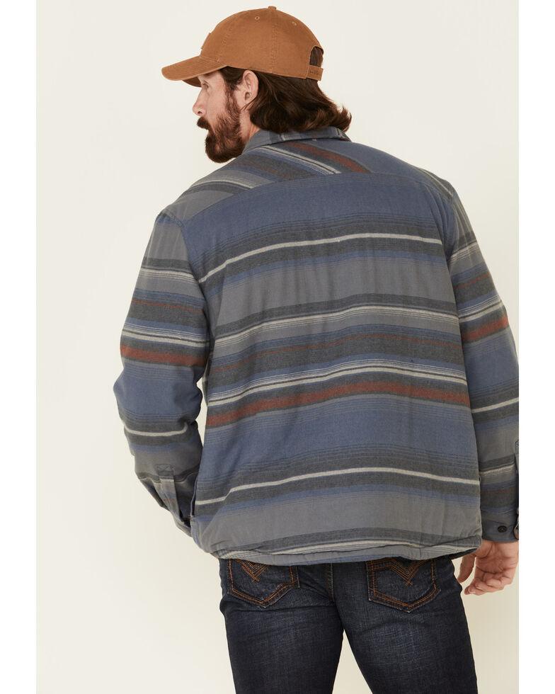 North River Men's Blue Indigo Sherpa Lined Striped Flannel Shirt Jacket , Blue, hi-res