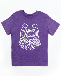 Ali Dee Toddler Girls' Purple Yee Haw Horseshoe Graphic Short Sleeve Tee , Purple, hi-res