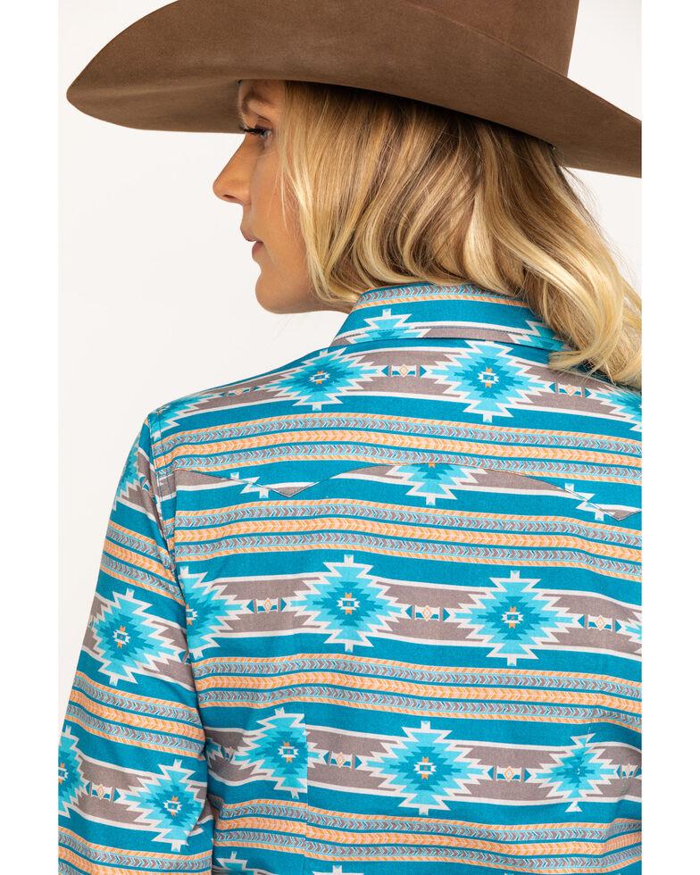 West Made Women's Blue Aztec Long Sleeve Western Shirt , Blue, hi-res