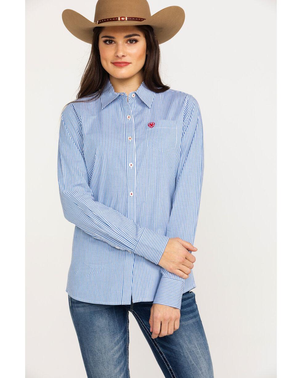 Ariat Women's Kirby Classic Blue Stripe Stretch Long Sleeve Shirt , Multi, hi-res