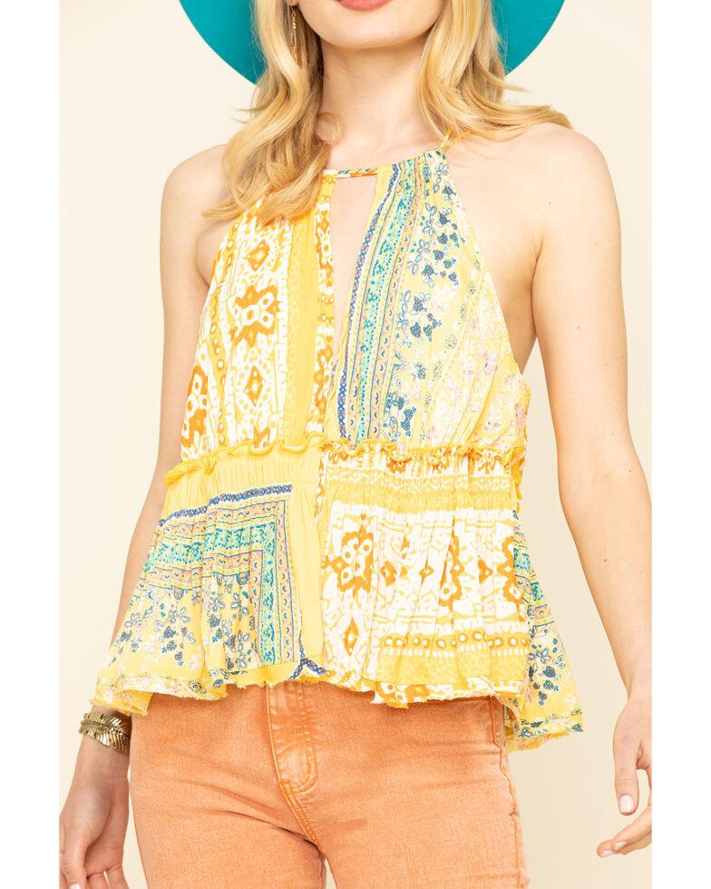 Free People Women's Bellini Patchwork Halter Top, Yellow, hi-res