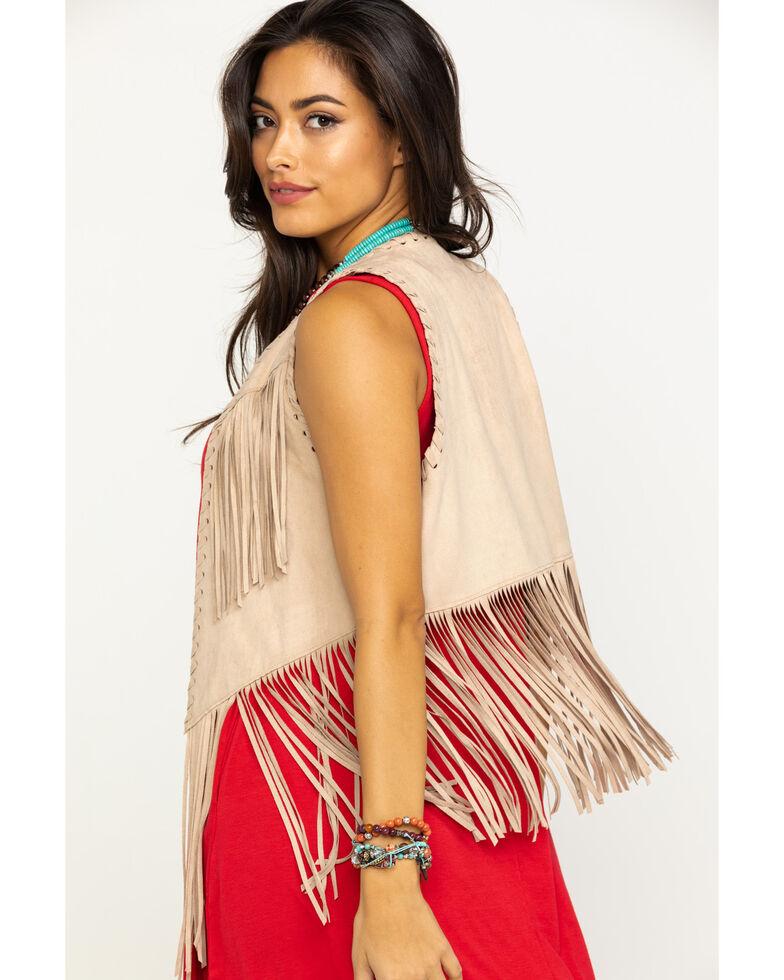 Ariat Women's Tan Bluegrass Fringe Vest, Beige/khaki, hi-res