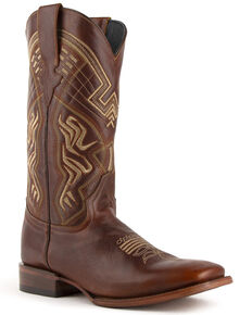 Ferrini Men's Roan Western Boots - Wide Square Toe, Brown, hi-res