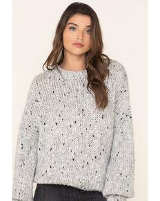 Elan Women's Grey Space Dye Crew Sweater, Grey, hi-res