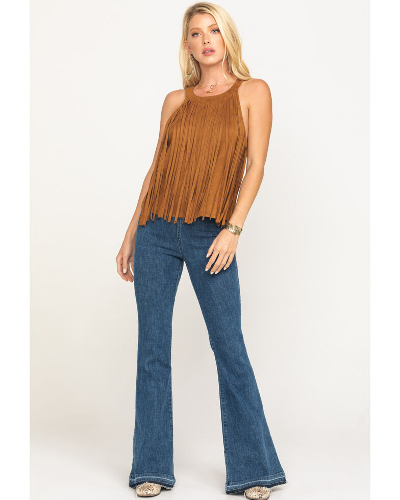 Rock & Roll Cowgirl Women's Brown Fringe High Neck Tank Top, Brown, hi-res