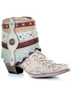 Corral Women's White Glitter Flipped Shaft Fashion Booties - Snip Toe, White, hi-res