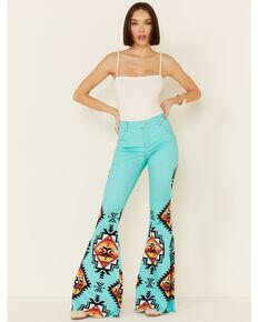 Ranch Dress'n Women's Sedona Aztec Super Flare Jeans, Turquoise, hi-res