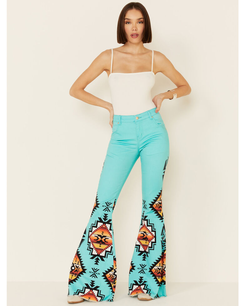 Ranch Dress'n Women's Sedona Aztec Super Flare Jeans, Turquoise, hi-res