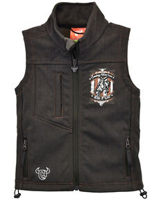 Cowboy Hardware Infant & Toddler Boys' Brown Ride It Out RIDE IT OUT Zip-Front Softshell Vest , Brown, hi-res