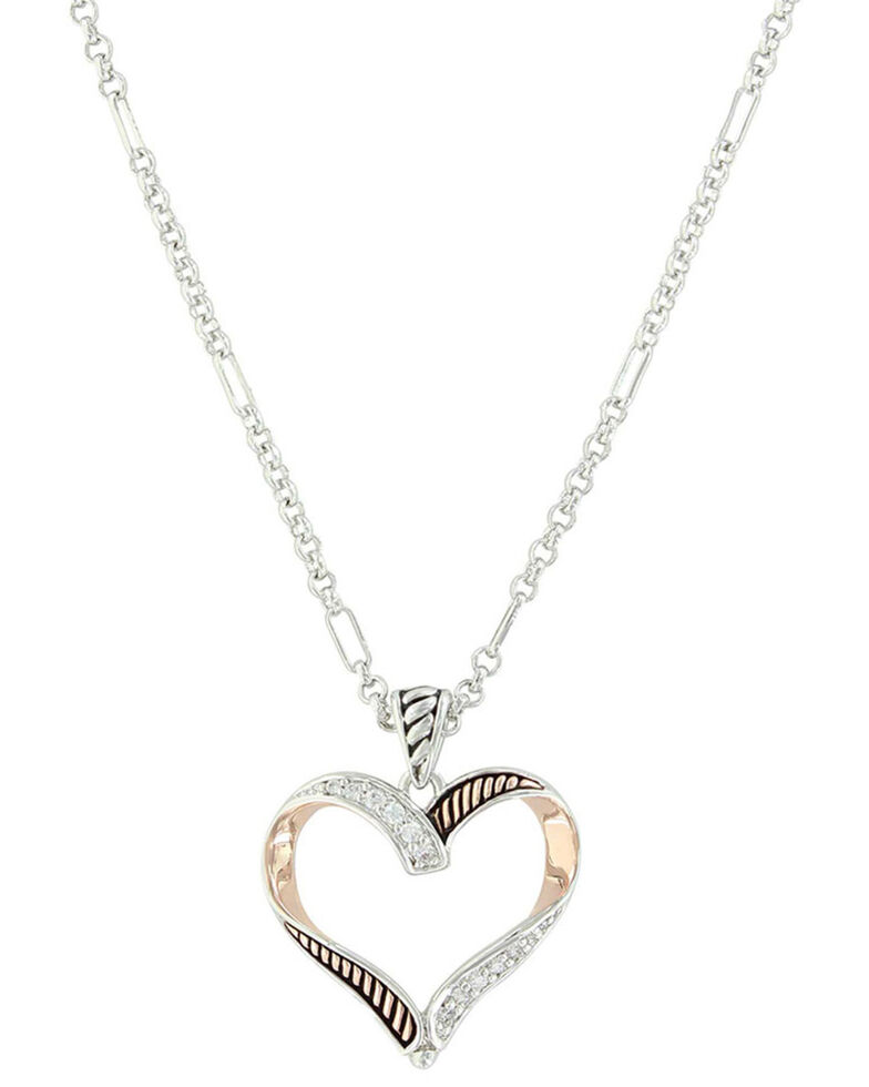 Montana Silversmiths Women's Facets Of Love Rose Gold Heart Necklace, Silver, hi-res