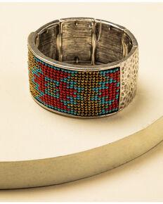 Idyllwind Women's Moondance R Aztec Beaded Bracelet, Silver, hi-res