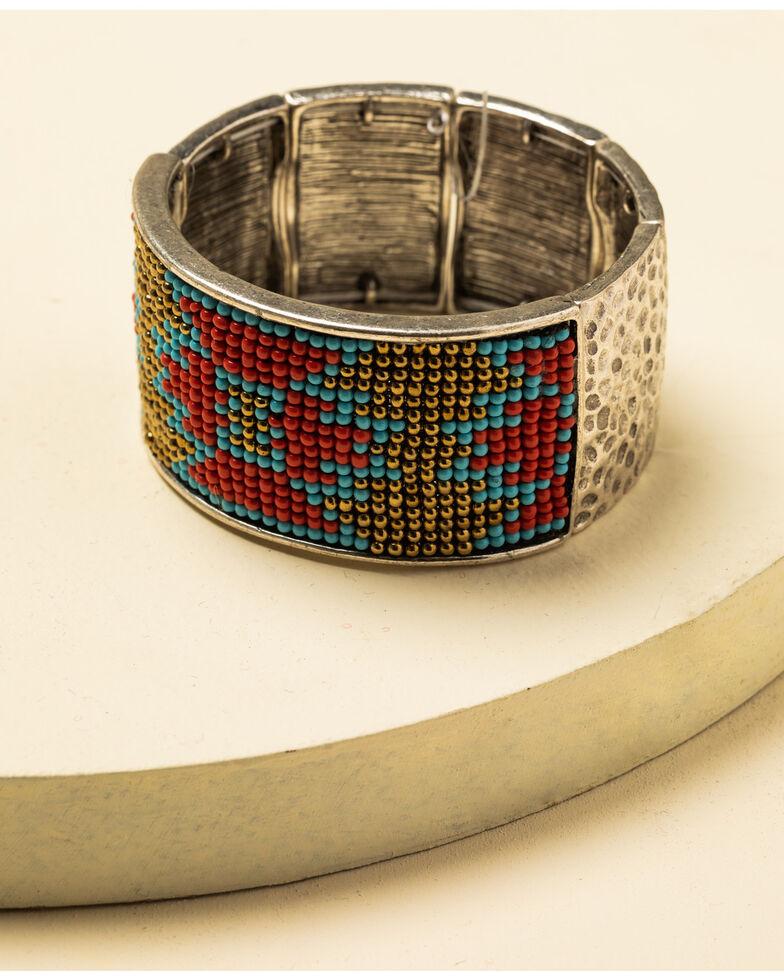 Idyllwind Women's Moondancer Aztec Beaded Bracelet, Silver, hi-res