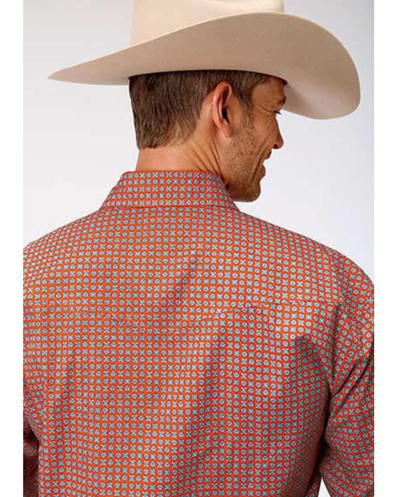 Roper Men's Amarillo Clay Foulard Geo Print Long Sleeve Western Shirt , Orange, hi-res