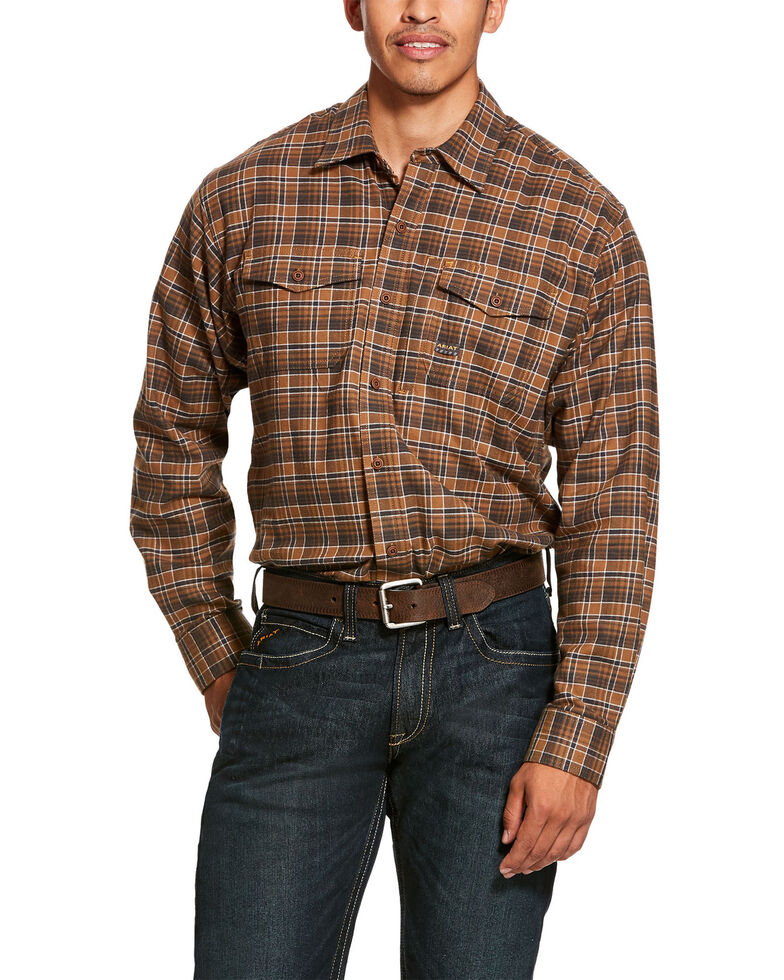 Ariat Men's Zane Plaid Rebar Flannel Durastretch Long Sleeve Work Shirt - Big , Multi, hi-res