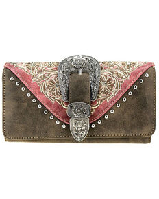 Montana West Women's Buckle & Bling Wallet, Dark Brown, hi-res