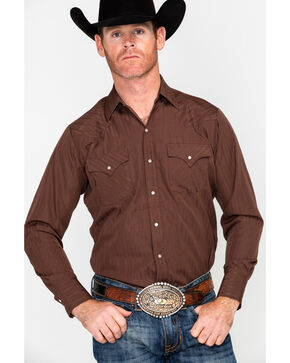 Ely Cattleman Men's Tone On Tone Print Long Sleeve Western Shirt , Chocolate, hi-res