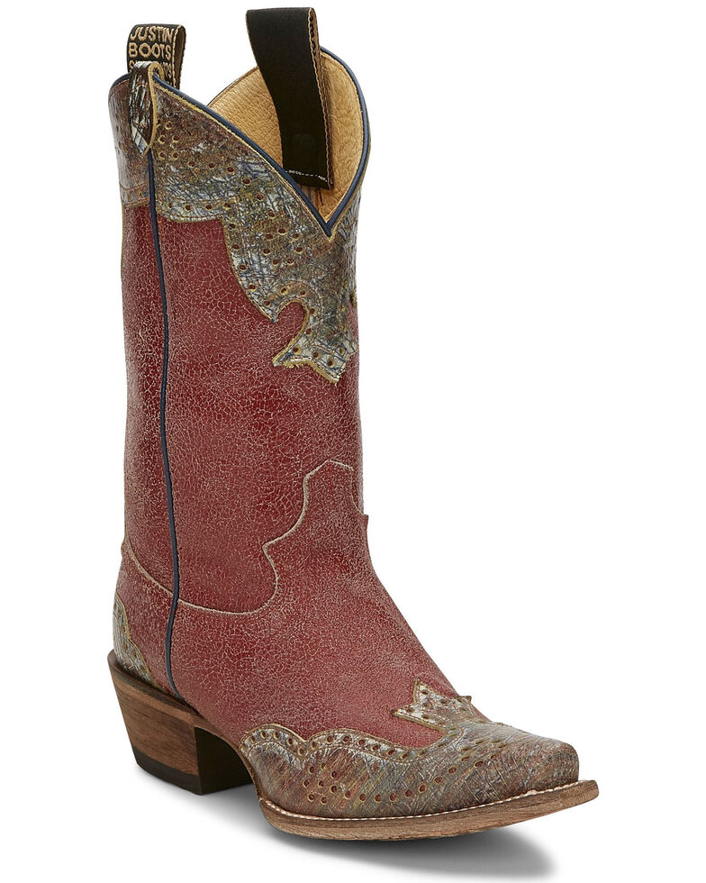 Justin Women's Vera Red Western Boots - Narrow Square Toe, Red, hi-res