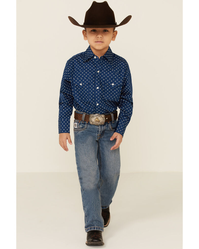 Ely Walker Boys' Navy Ditzy Print Long Sleeve Western Shirt , Navy, hi-res