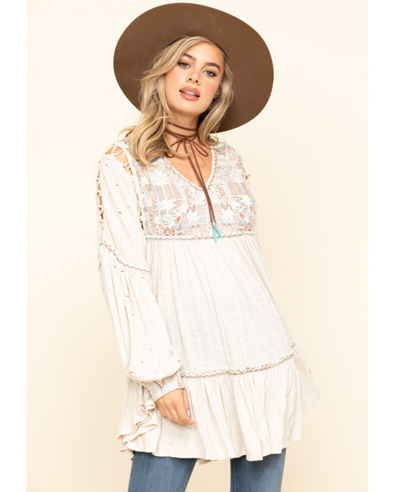 Free People Women's Much Love Tunic, Sand, hi-res