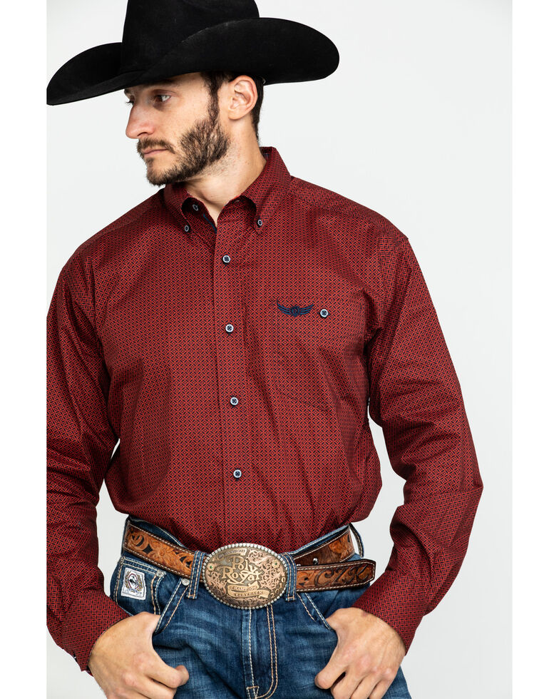 Ariat Men's Performance Geo Print Long Sleeve Western Shirt, Multi, hi-res