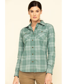 Carhartt Women's Musk Green Rugged Flex Plaid Long Sleeve Work Shirt , Green, hi-res