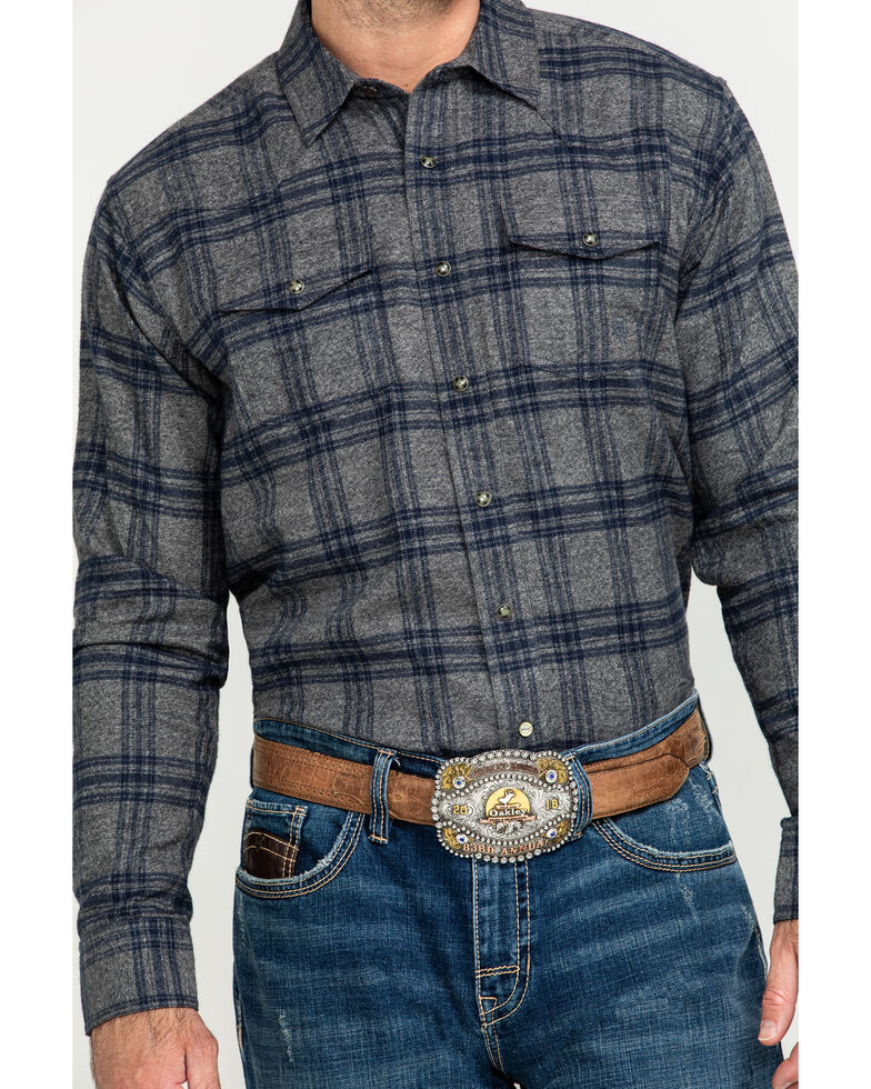 Ariat Men's Foggie Retro Snap Long Sleeve Flannel Shirt , Steel, hi-res