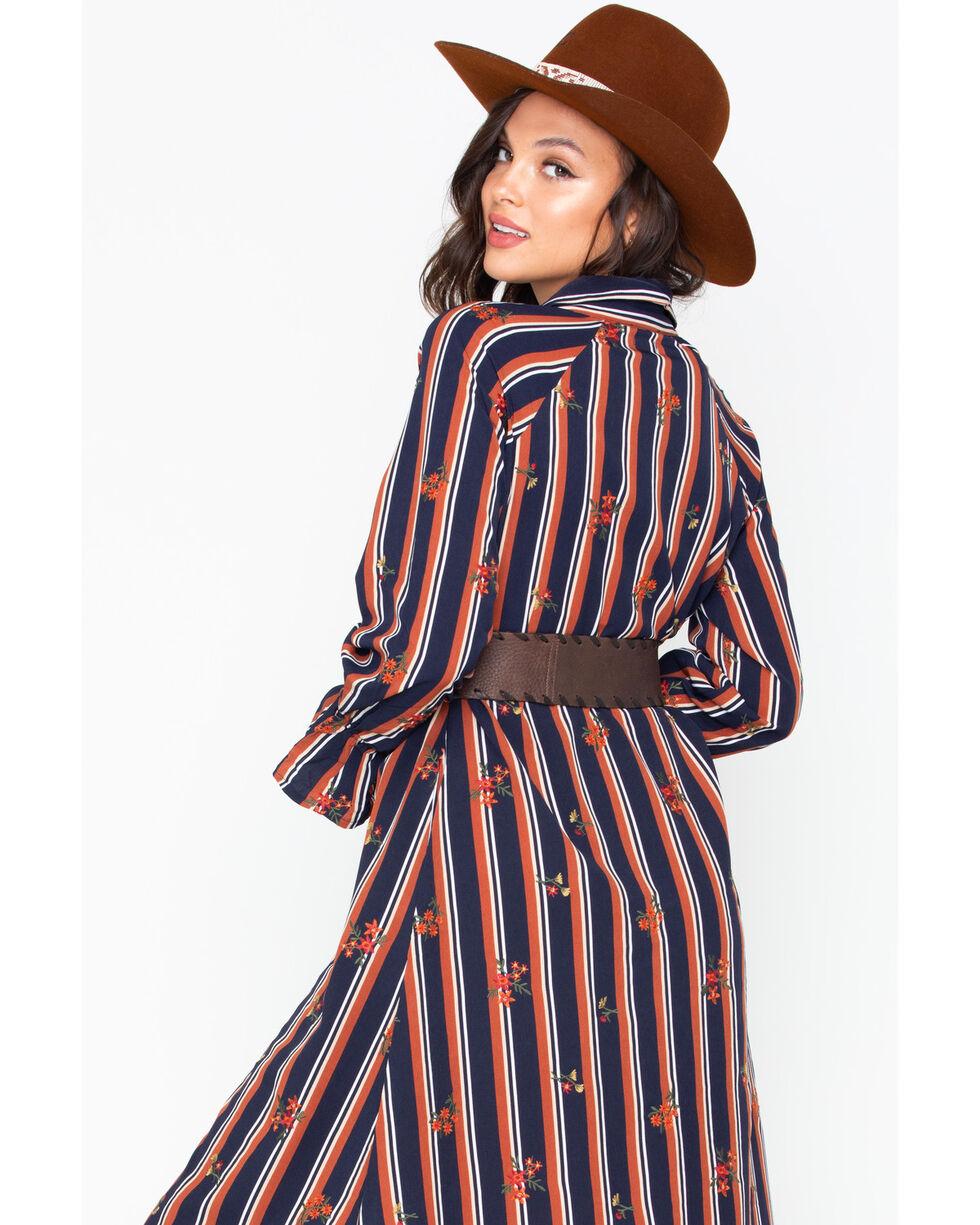 Miss Me Women's Striped Button Down Shirt Dress , Black/brown, hi-res