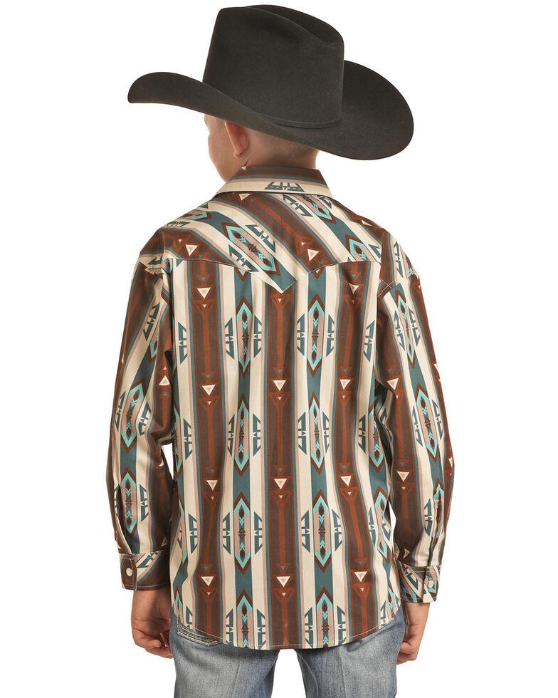Rock & Roll Denim Boys' Tan Striped Aztec Print Long Sleeve Western Shirt , Tan, hi-res