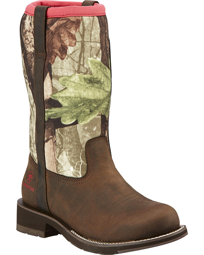 Ariat Fatbaby All-Weather Camo Cowgirl Boots - Round Toe, Brown, hi-res