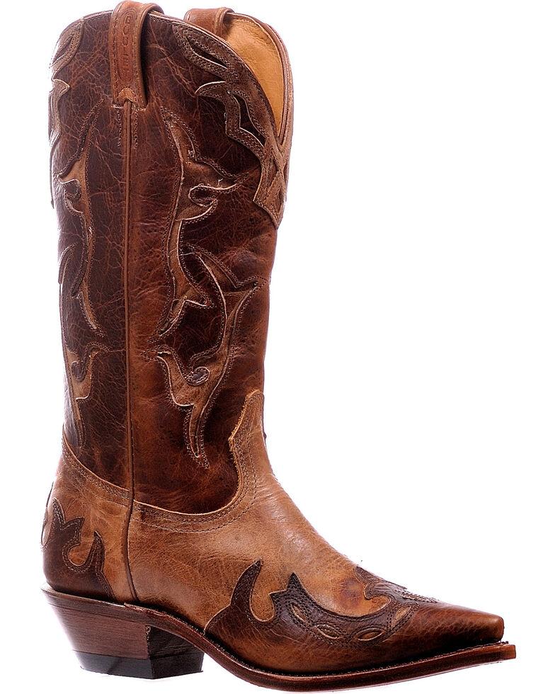 Boulet Women's Damiana Moka Wingtip Cowgirl Boots - Snip Toe, Brown, hi-res
