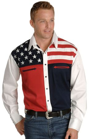 Scully Patriotic American Flag Colorblock Western Shirt, Blue, hi-res