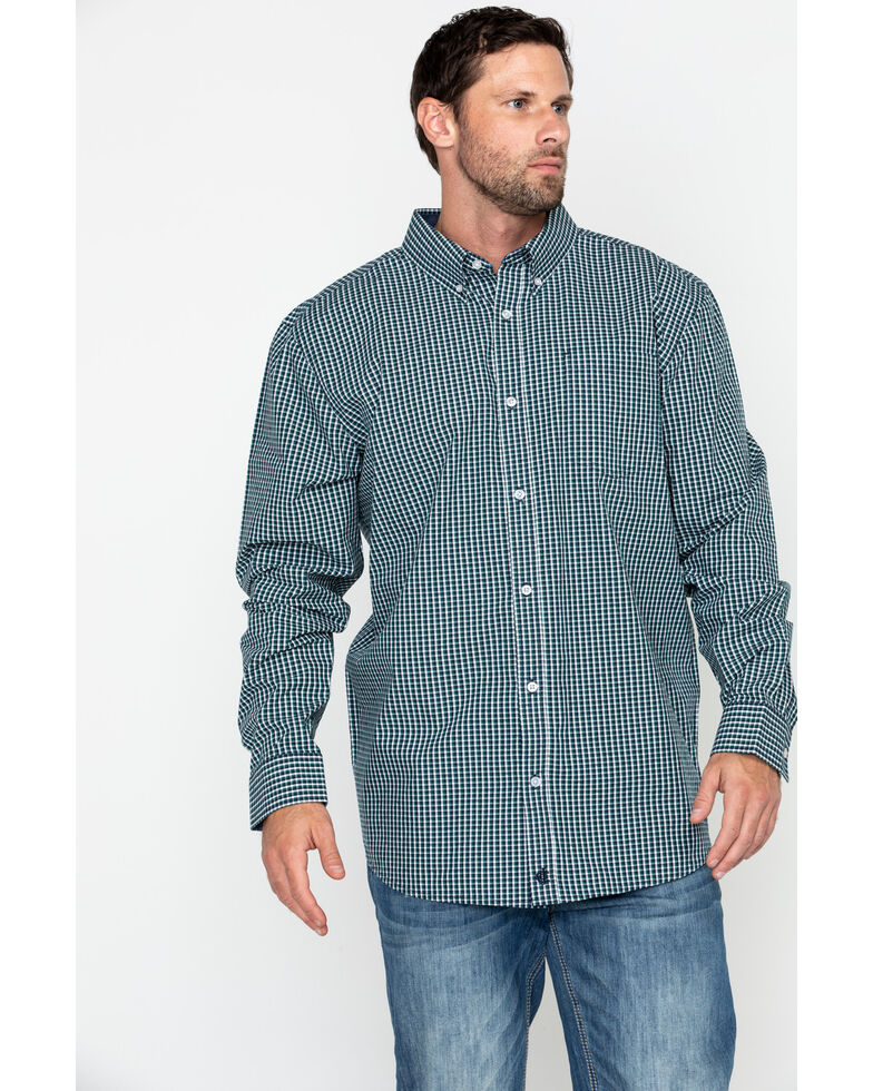 Cody James Core Men's Muldoon Small Check Plaid Long Sleeve Western Shirt - Big, Navy, hi-res