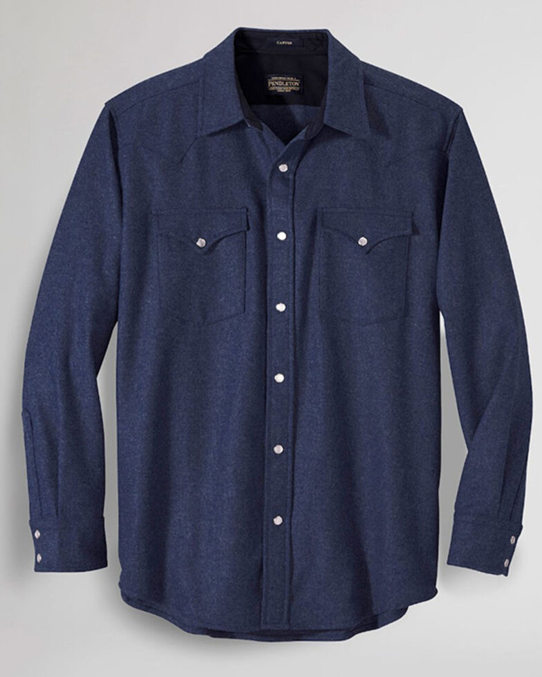 Pendleton Men's Navy Canyon Solid Long Sleeve Snap Western Flannel Shirt , Navy, hi-res