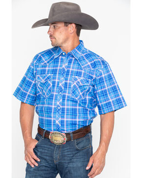Wrangler 20X Men's Competition Advanced Comfort Plaid Short Sleeve Western Shirt - Tall , Blue, hi-res