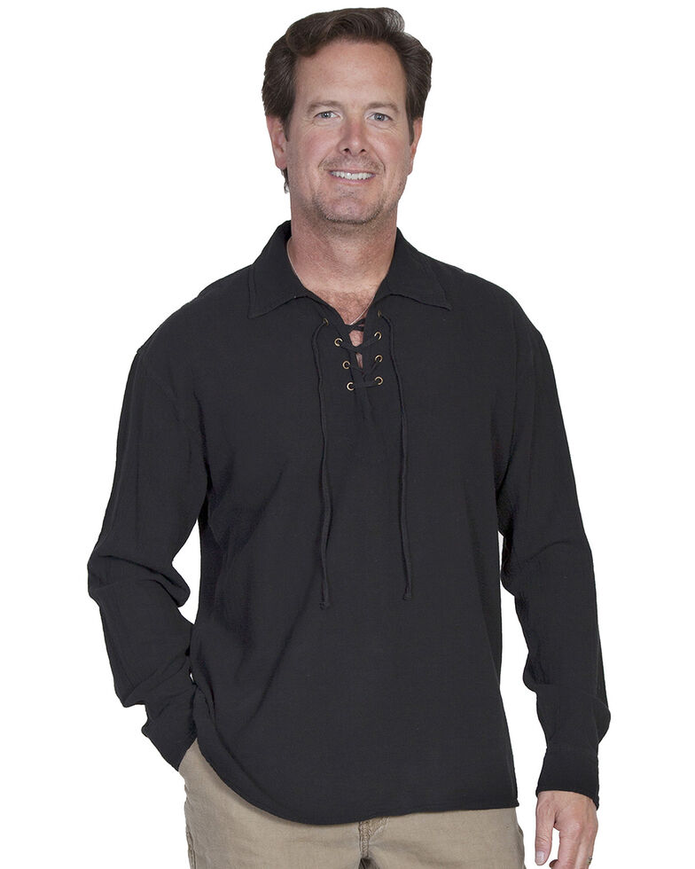 Scully Men's Cantina Lace-Up Long Sleeve Shirt, Black, hi-res