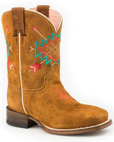 Roper Girls' Alex Western Boots - Square Toe, Brown, hi-res