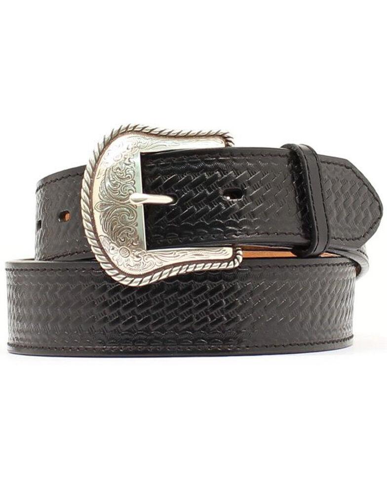Double S Basketweave Embossed Leather Belt - Big, Black, hi-res