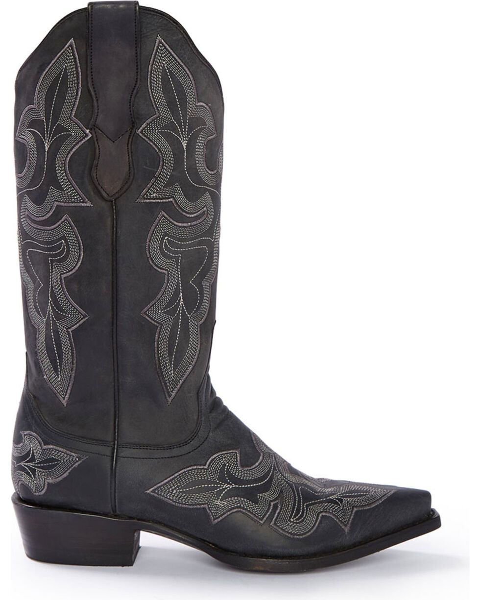 Stetson Women's Black Jess Embroidered Western Boots - Snip Toe, Black, hi-res