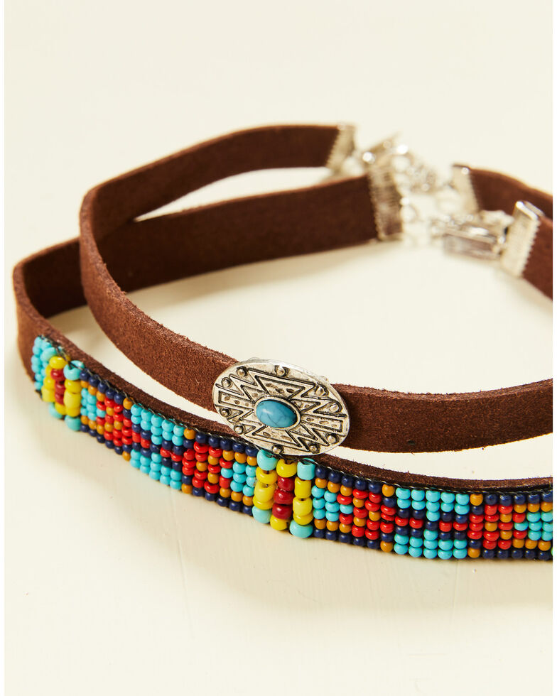 Shyanne Women's Summer Nights Beaded Concho Choker Set, Silver, hi-res