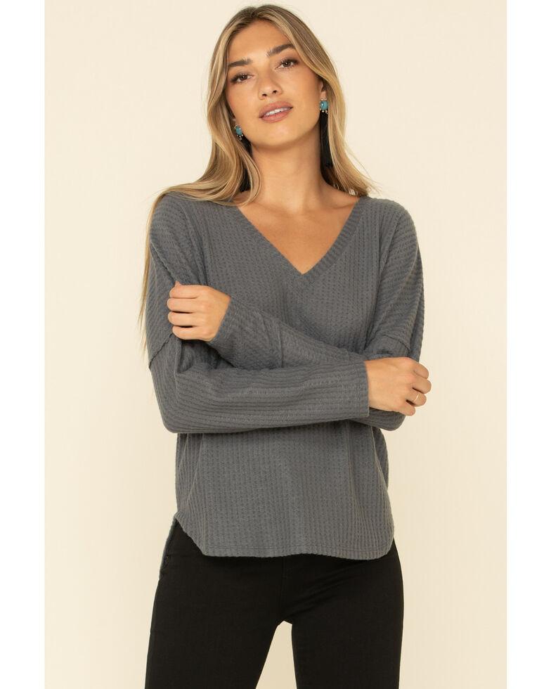 HYFVE Women's Waffle Knit V-Neck Long Sleeve Top, Charcoal, hi-res