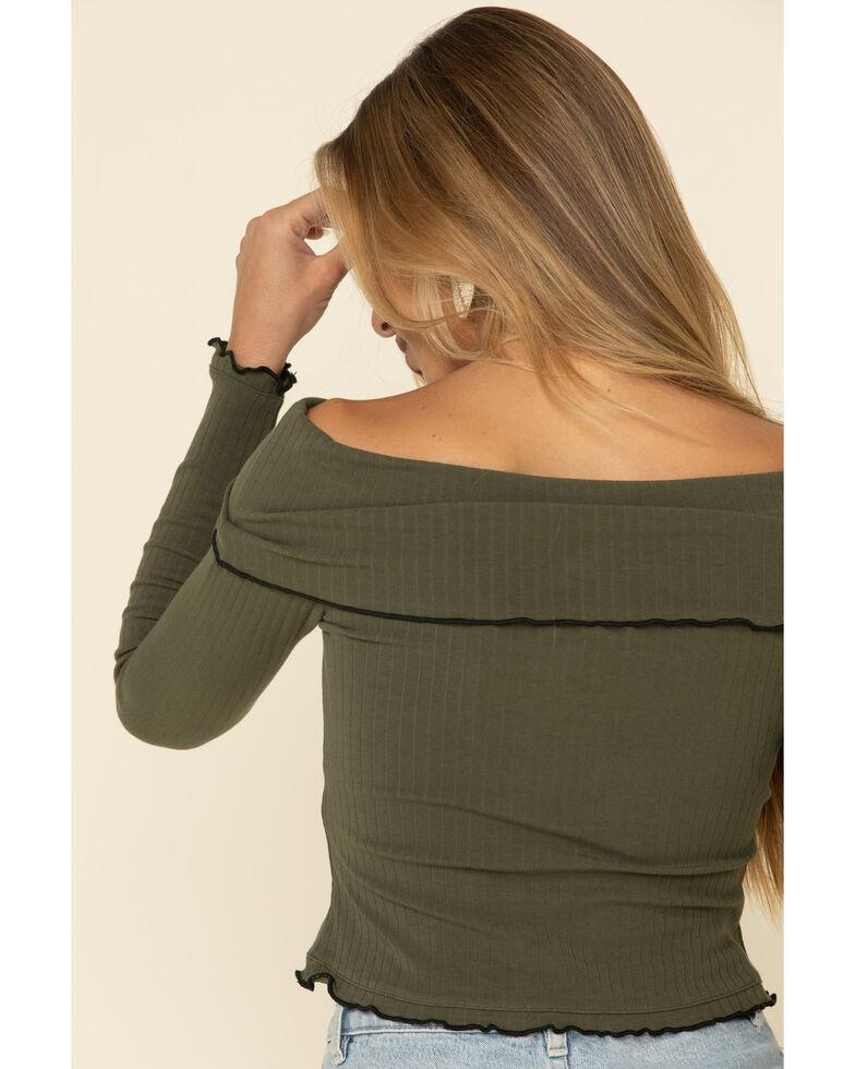 Shyanne Women's Olive Ribbed Off The Shoulder Top , Olive, hi-res