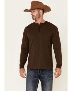 Cody James Men's Solid Dark Brown Impulse Long Sleeve Henley Shirt   , Dark Brown, hi-res