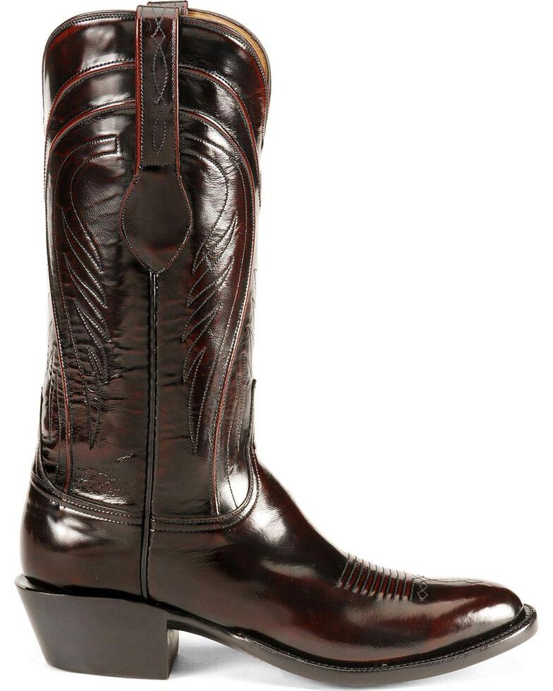Lucchese Men's Classics Seville Goatskin Boots - Medium Toe, Black Cherry, hi-res